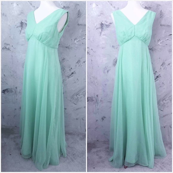 2dc0a4c2942 Hand Tailored Dresses | Vintage 70s Mint Green Chiffon Evening Gown ...